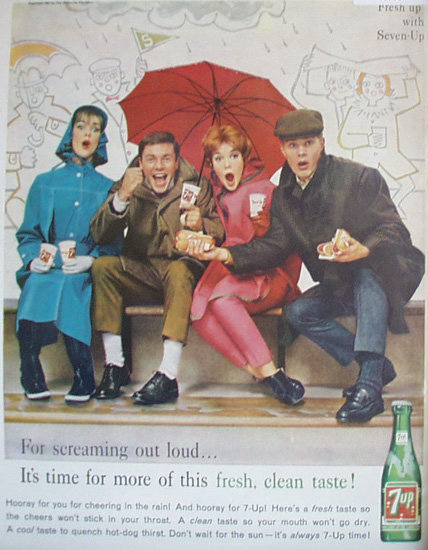Seven Up Cheering In The Rain 1961 Ad