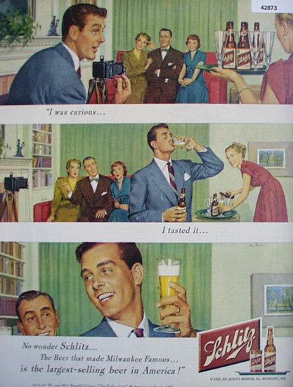 Jos. Schlitz Brewing Co. 1950 AD.