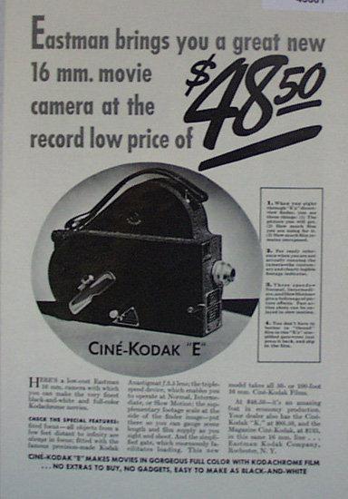Cine Kodak E Camera 1907 To 1912 Ad
