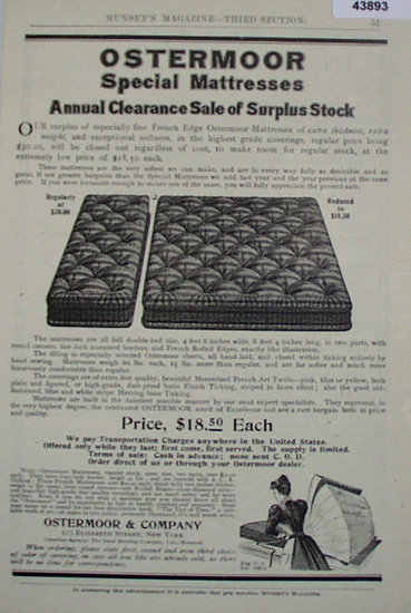 Ostermoors Mattress 1907 to 1912 Ad