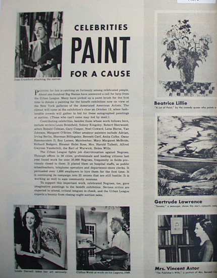 Celebrities Paint For A Cause 1948 Article
