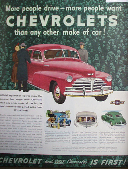 Chevrolet Car 1948 Ad. This color May 11, 1948
