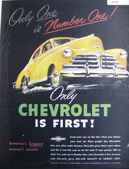 Chevrolet Number One 1948 Ad.