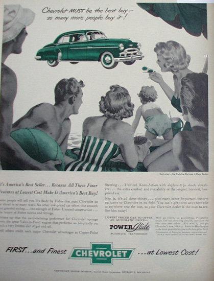Chevrolet Styleline De Luxe Car 1950 Ad.