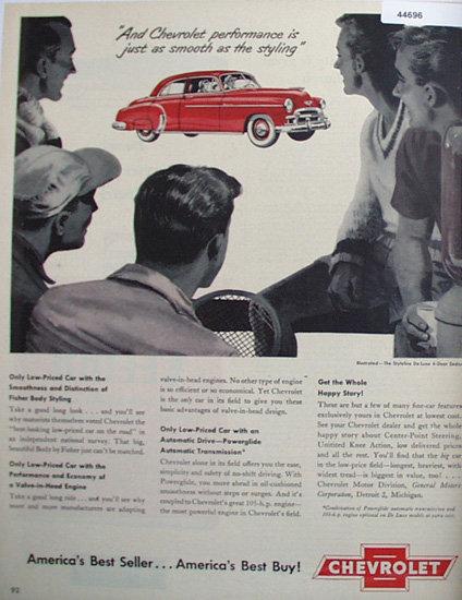 Chevrolet Styleline De Luxe 1950 Car Ad.
