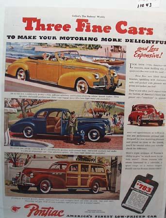 Pontiac Three Fine Cars Ad 1940