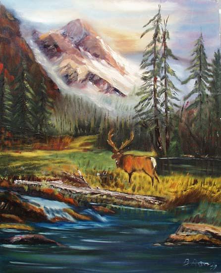 Moose in mountainous scenery painting