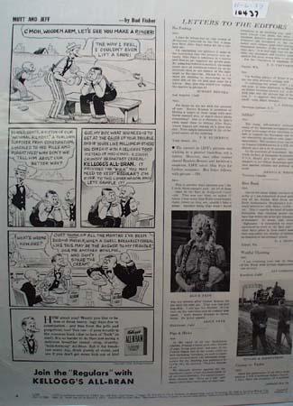 Kellogg's All Bran Mutt Jeff Wooden Arm Ad 1939