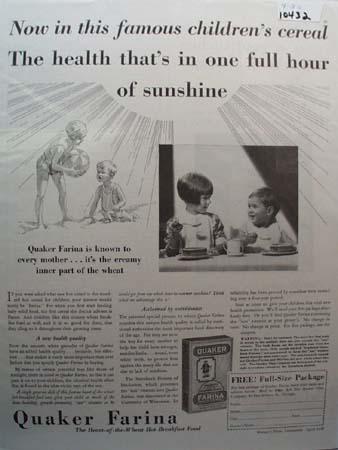 Quaker Farina One Hour of Sunshine Ad 1930