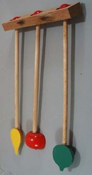 Wooden towel rack for kitchen with fruit