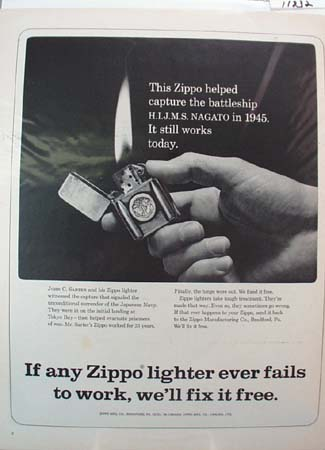 Zippo Lighter John Sarter Ad 1966