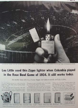 Zippo Lighter Rose Bowl Ad 1961