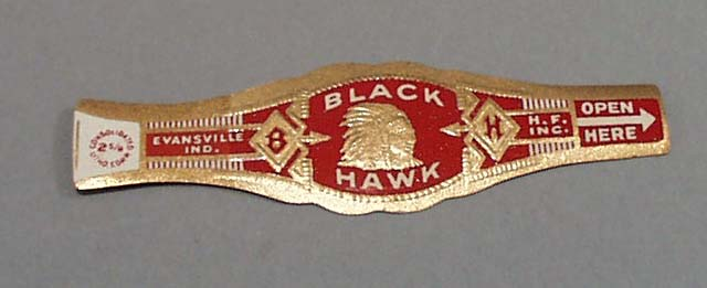 Black hawk Cigar Band, Red and Gold
