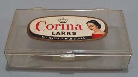 Corina Larks cigar box, Plastic box with lable