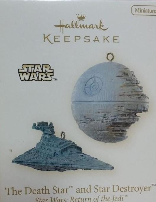 New! Star Wars THE DEATH STAR and STAR DESTROYER~2 Hallmark 2008 Mini Ornaments