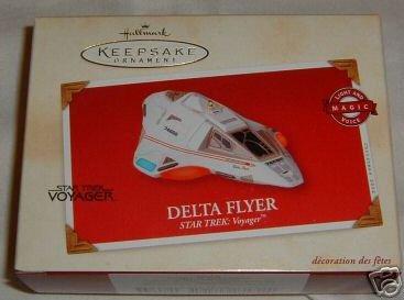 DELTA FLYER Star Trek Hallmark Ornament 2002~Lights & Voice