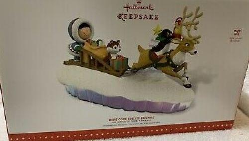 New! Hallmark HERE COME FROSTY FRIENDS~light~sound~motion~2015