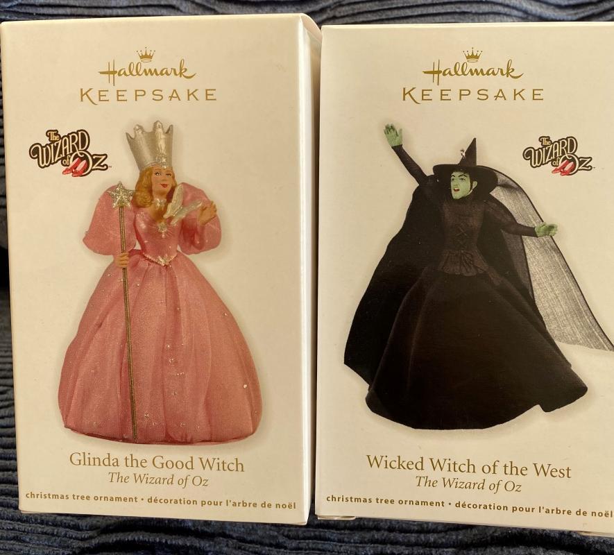 New~Hallmark GLINDA & WICKED WITCH~2011 Wizard of Oz~set of 2 Mint Ornaments