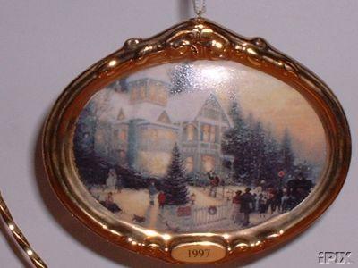 THOMAS KINKADE: Victorian Christmas Hallmark PORCELAIN 1997 Ornament 1st in Series