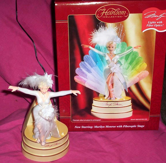 MARILYN MONROE Ornament with Fiber Optic Lighted Stage by Carlton 2002