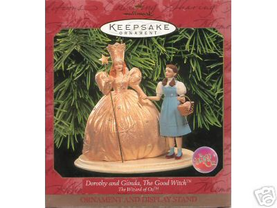 DOROTHY & GLINDA Wizard of Oz Hallmark Ornament w/ Stand 1999