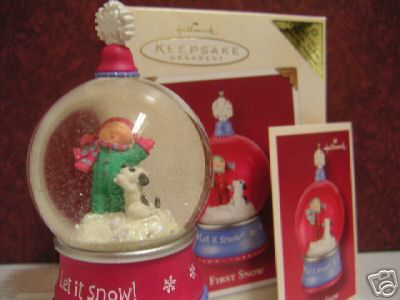First Snow COLORWAY REPAINT Snow Globe Ornament Hallmark 2002