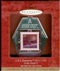 Star Trek USS Enterprise Stamp Ornament ~Hallmark 1999~NEW