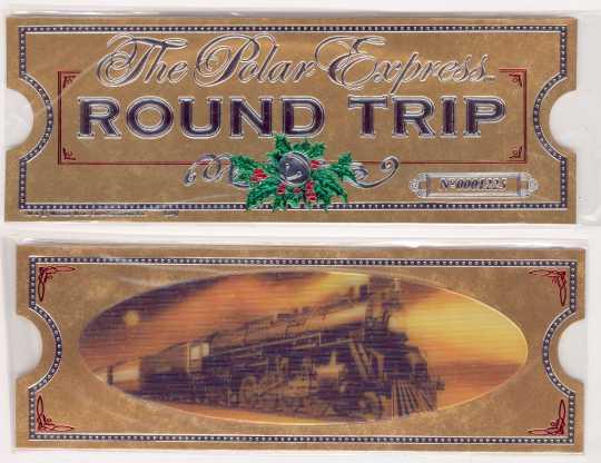 POLAR EXPRESS Gold Hologram ROUND TRIP TICKET ~Hallmark Bookmark