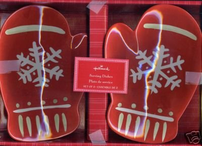 2 Hallmark Red MITTEN Christmas Snowflake Ceramic Serving/Candy/Dessert Dishes Plates