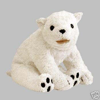 Ty Aurora Beanie Baby Sitting White Polar Bear