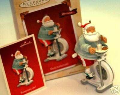 SNACKERCIZE Santa on Exercize Bike Hallmark Motion Ornament 2003