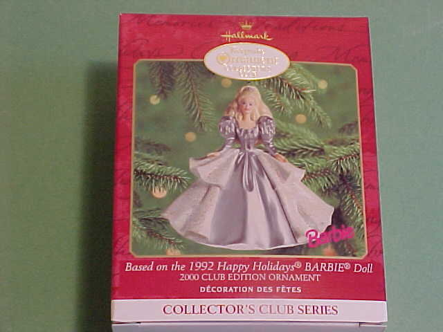 #5 CLUB 1992 Happy Holiday Barbie Hallmark 2000 Ornament