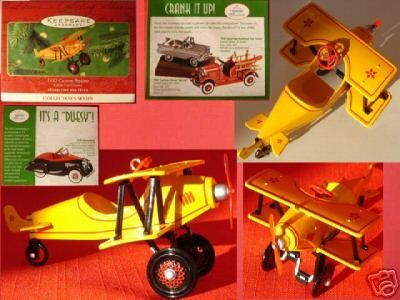 Die Cast Kiddie Car 1930 Custom Biplane 2001 Hallmark Ornament