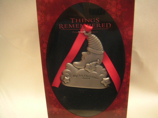 Engrave-able Pewter Baby's 1st Christmas 2004 Ornament
