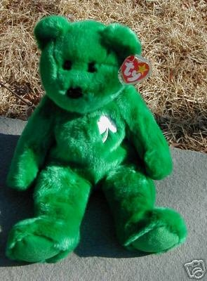 Ty ERIN Beanie Baby BUDDY Bear Irish Shamrock Green