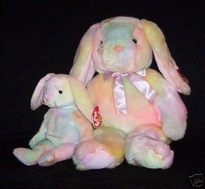 Ty HIPPIE Beanie Baby & Buddy Bunny Rabbits Plush