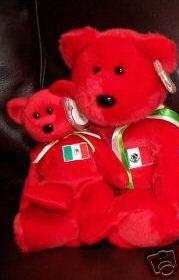 Ty OSITO Beanie Baby & Buddy Bears Mexico Mexican Flag Plush