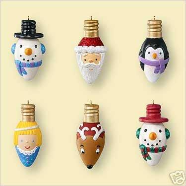 New! MERRY and BRIGHT 6 miniature Light Bulb Ornaments 2006 Hallmark