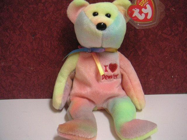 Ty I Love DENVER Bear Beanie Baby~Ty-dyed