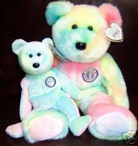 Ty BIRTHDAY Beanie BABY & BUDDY Bears Set of 2~Pastel Tie-dyed