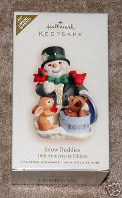 New! 2007 Hallmark~SNOW BUDDIES~10th Anniversary~LIMITED Ed. Christmas Ornament~Colorway/Repaint