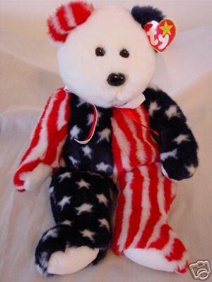 Ty Spangle Beanie Buddy Bear Retired Patriotic America~USA Plush