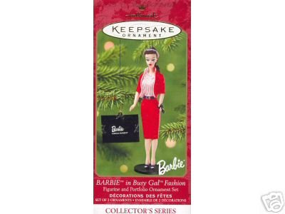 BARBIE  Busy Girl Fashion w/ Portfoilo~set of 2 Hallmark 2001 Ornaments~8th in Series
