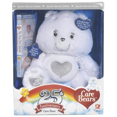 New! Care Bears 25th ANNIVERSARY Plush White TENDERHEART Bear+DVD~SILVER Edition~SWAROVSKI CRYSTALS~in BOX