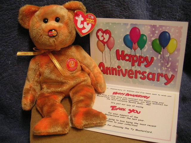 Ty MASTERCARD M.C. Beanie Baby 2nd Anniversary +CARD