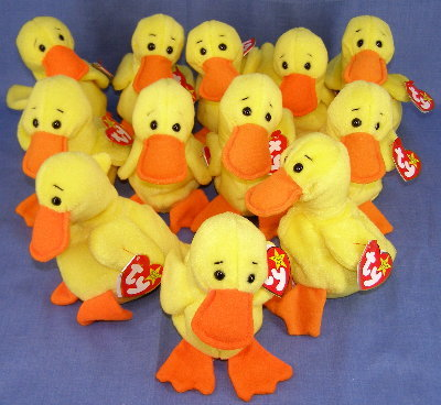 12 Ty QUACKERS Beanie Babies(Baby)~1 dozen~ Easter Party Favors~Mint