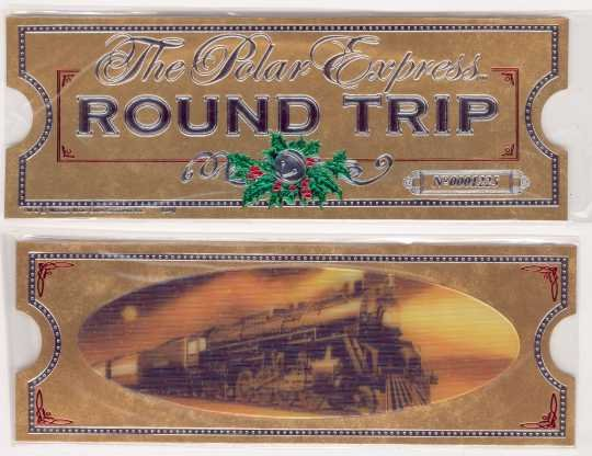 POLAR EXPRESS Santa's Sleigh Bell Ornament AND Gold Hologram Round Trip TICKET/Bookmark~Hallmark 2007