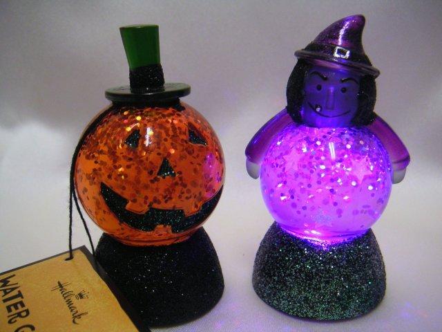 Halloween WITCH & PUMPKIN~2 Water Globes~Lights Up~Hallmark