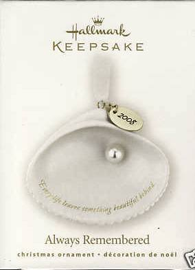 2008 Hallmark ALWAYS REMEMBERED Porcelain Christmas Ornament~Shell w/ Pearl