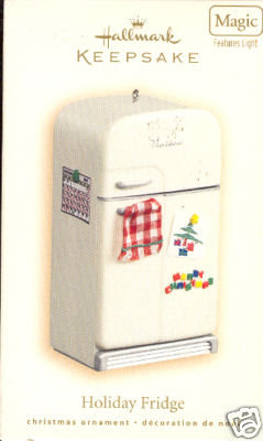 New! Hallmark HOLIDAY FRIDGE 2007 Christmas Ornament Refrigerator~Lights